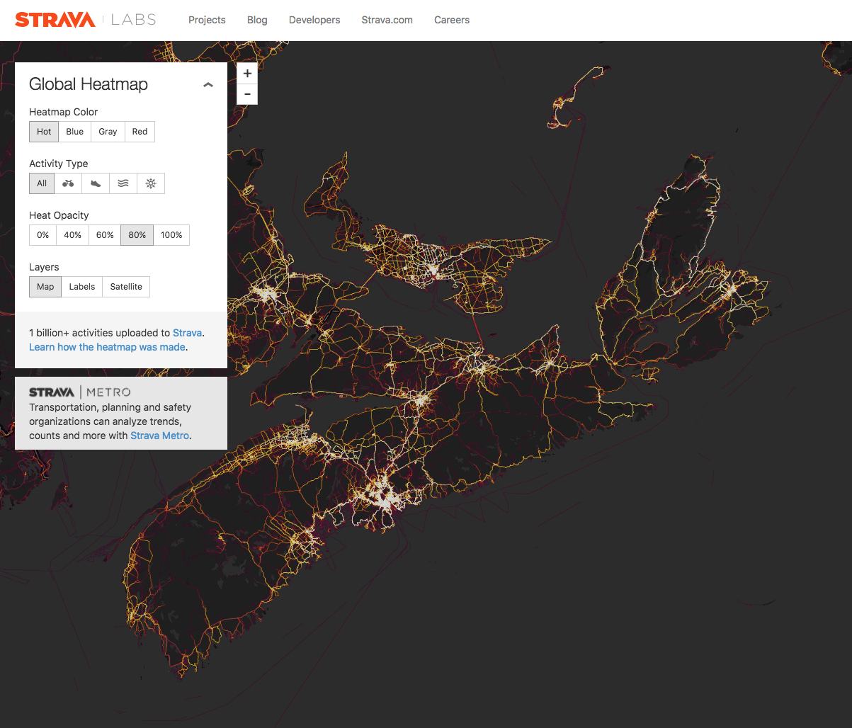 Strava Heatmaps help identify where rides have happened